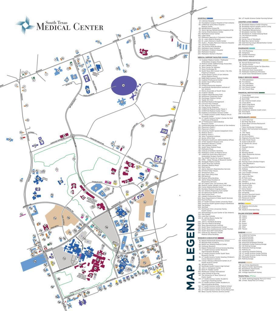 Map Of Texas Medical Center.South Texas Medical Center Brochure Map Advertising Marketing